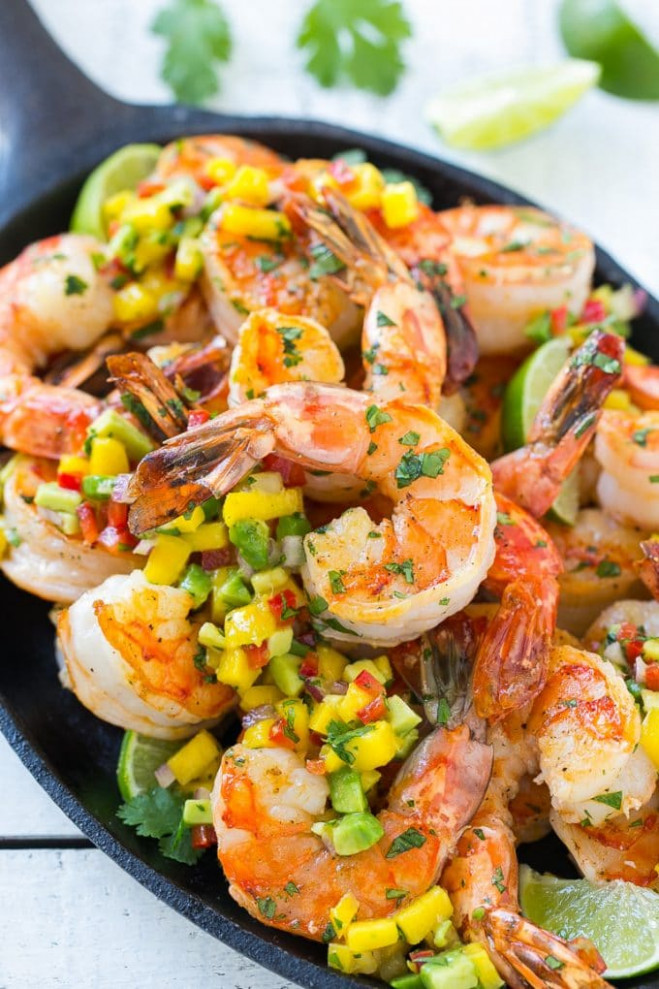 Cilantro Lime Shrimp with Mango Salsa - Dinner at the Zoo