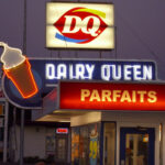 Closeup Of Dairy Queen With Lit, Vintage Neon Ice Cream Cone Sign, Night Shot, Mesa, Arizona