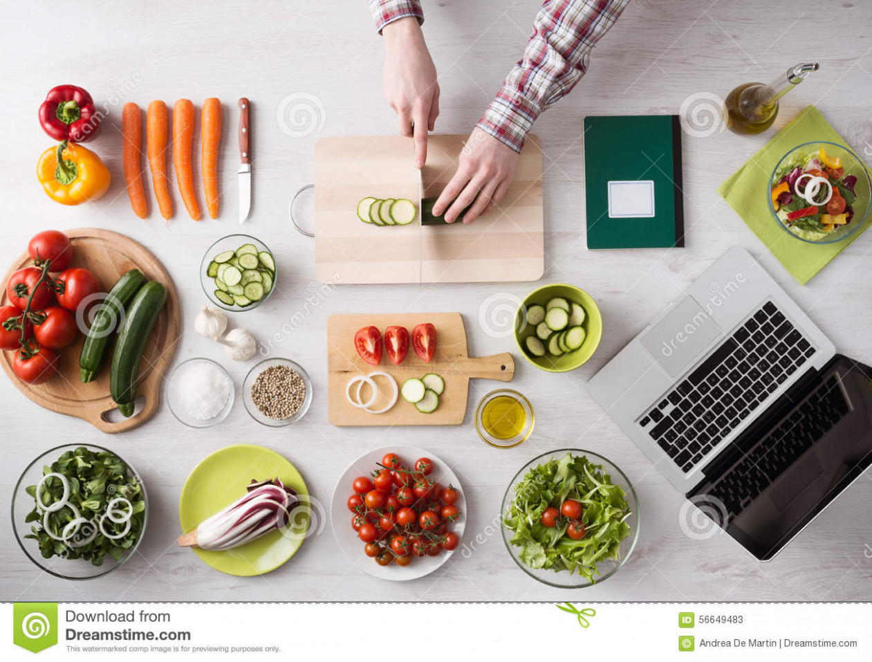 Cooking At Home With Online Recipes Stock Image - Image of ...