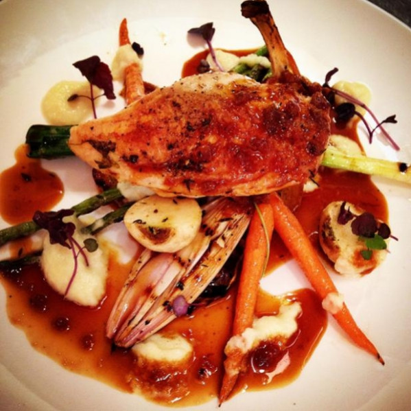 Corn-fed breast of chicken with charred baby vegetables ...