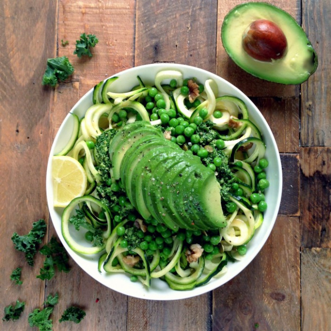 Courgette Pasta with Kale Pesto, Peas and Avocado | Rebel ...