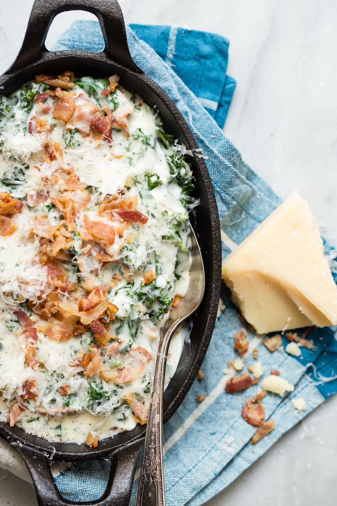 Creamed Kale with Bacon and Parmesan