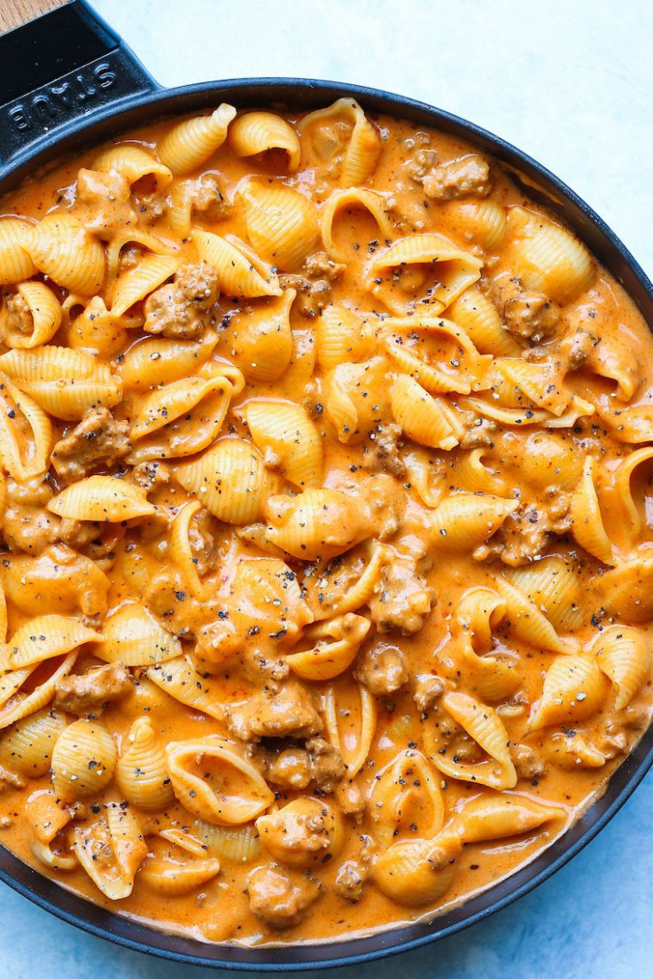 Creamy Beef and Shells | One Pot Delight | Beef pasta ...