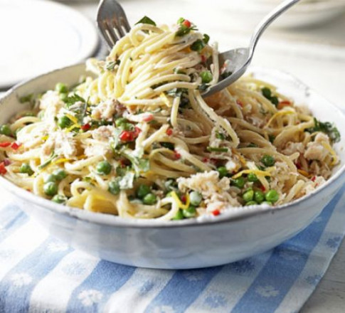 Creamy crab & pea pasta recipe | BBC Good Food