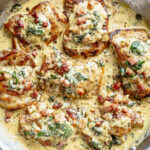 Creamy Dijon Chicken Thighs With Bacon And Spinach