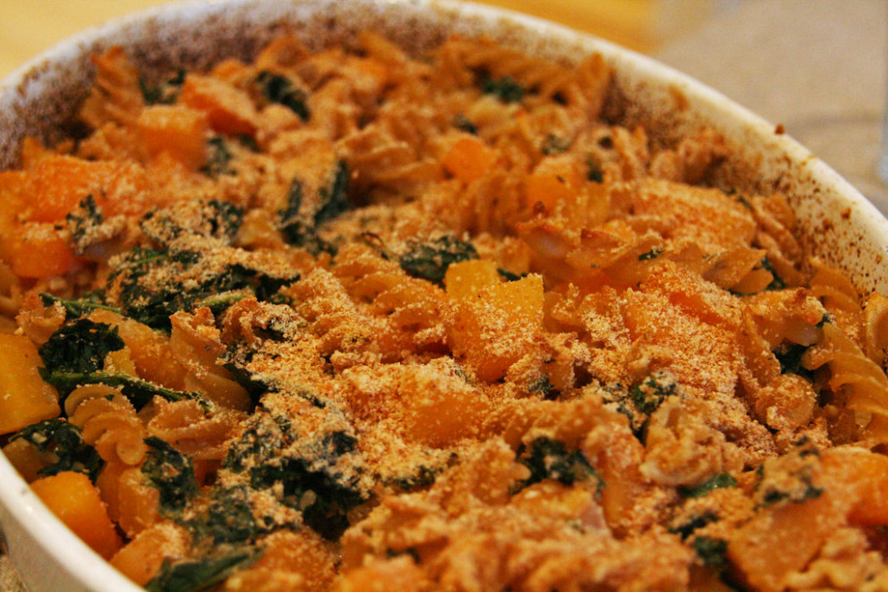 Creamy Pasta with Sweet Potato and Kale