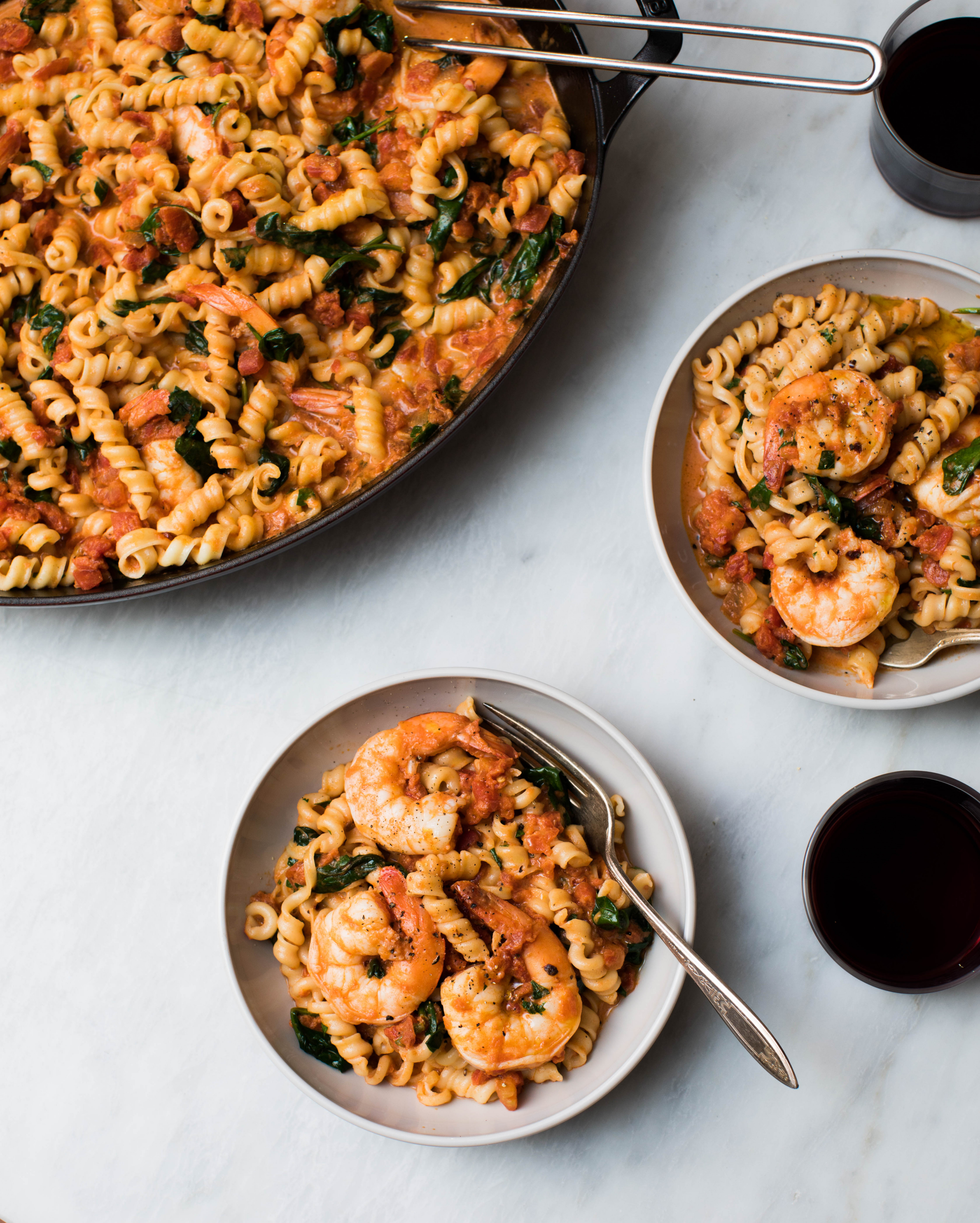 Creamy, Spicy Shrimp and Spinach Pasta : recipes