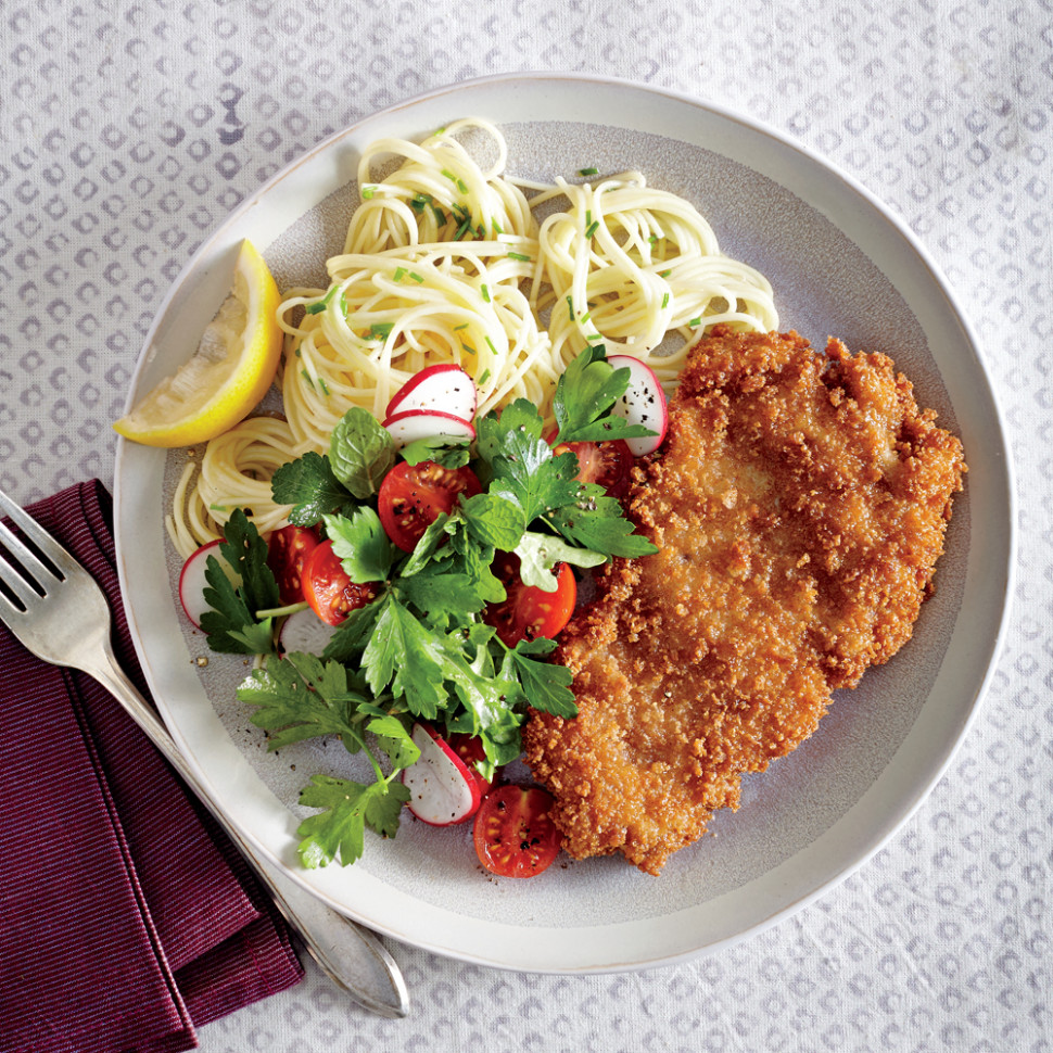Crispy Chicken Cutlets with Butter-Chive Pasta Recipe ...
