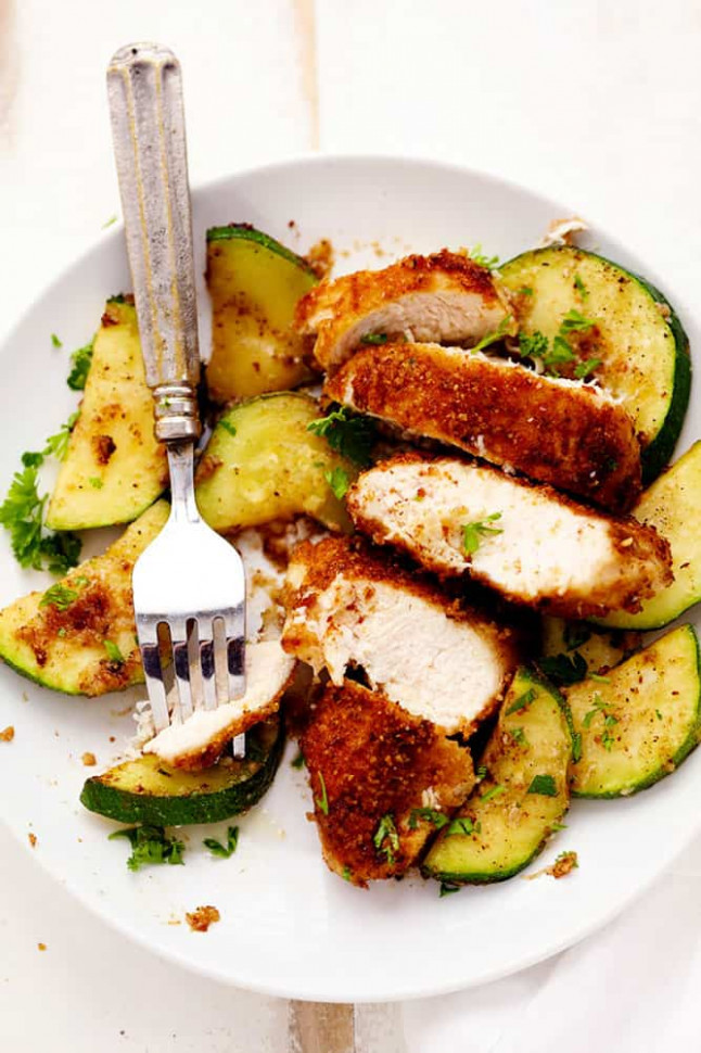 Crispy Parmesan Garlic Chicken with Zucchini | The Recipe ...