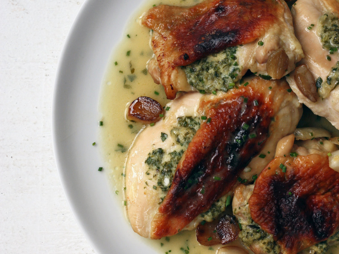 Crispy Roast Chicken and Shallots with Miso Gravy
