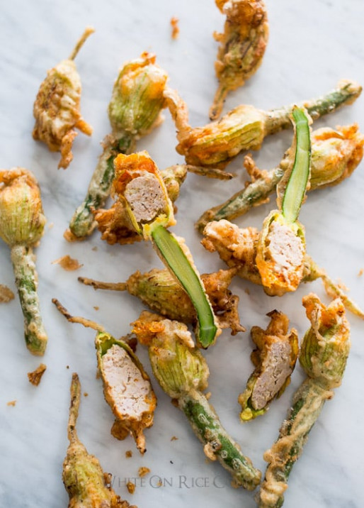 Crispy Vietnamese Pork Stuffed Zucchini Flowers | White On ...