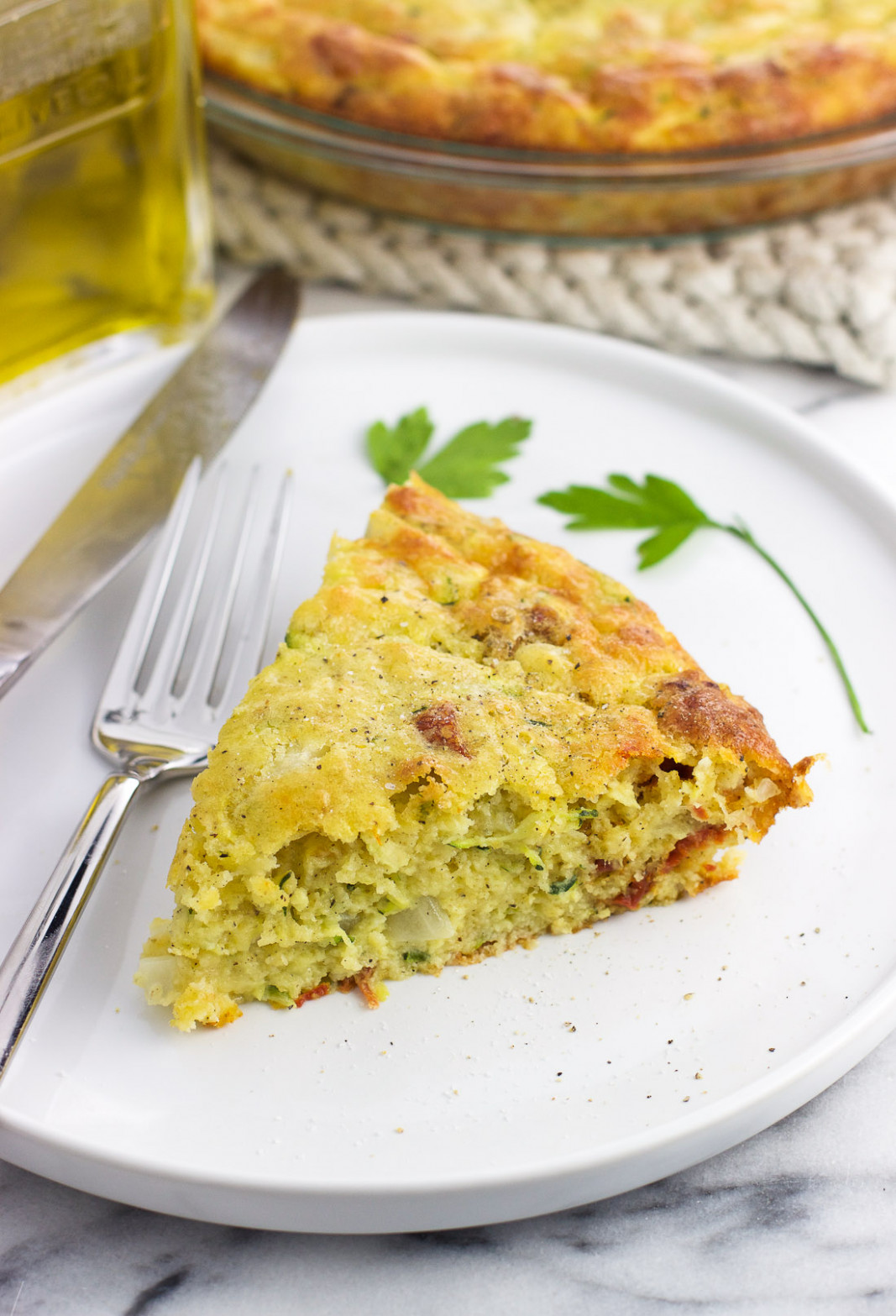Crustless Zucchini Quiche with Tomatoes and Smoked Mozzarella