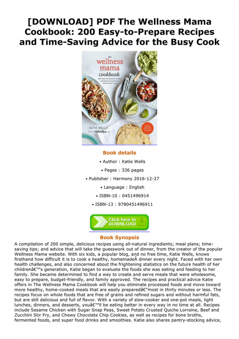 Debbra - DOWNLOAD PDF The Wellness Mama Cookbook 12 Easy to ...