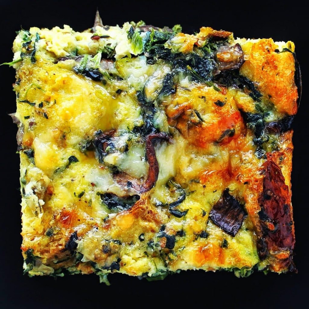 Dining with the Doc: Spinach, Mushroom and Gruyere Strata ...