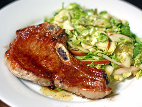 Dinner Tonight: Pork Chops with Shaved Brussels Sprouts ...
