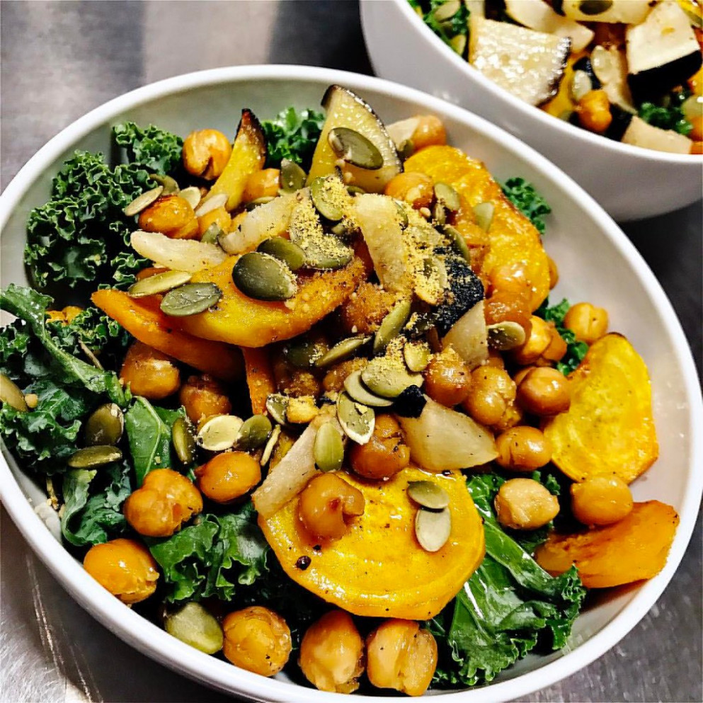 Dinner tonight: #Vegan Golden Beet and Kale Salad! Easy and good! I added roasted chickpeas and black radishes to make it a meal! I also added a bit of maple syrup to the dressing-yum! 💕 #Recipe via @theroastedroot 😍 . . . . http://w