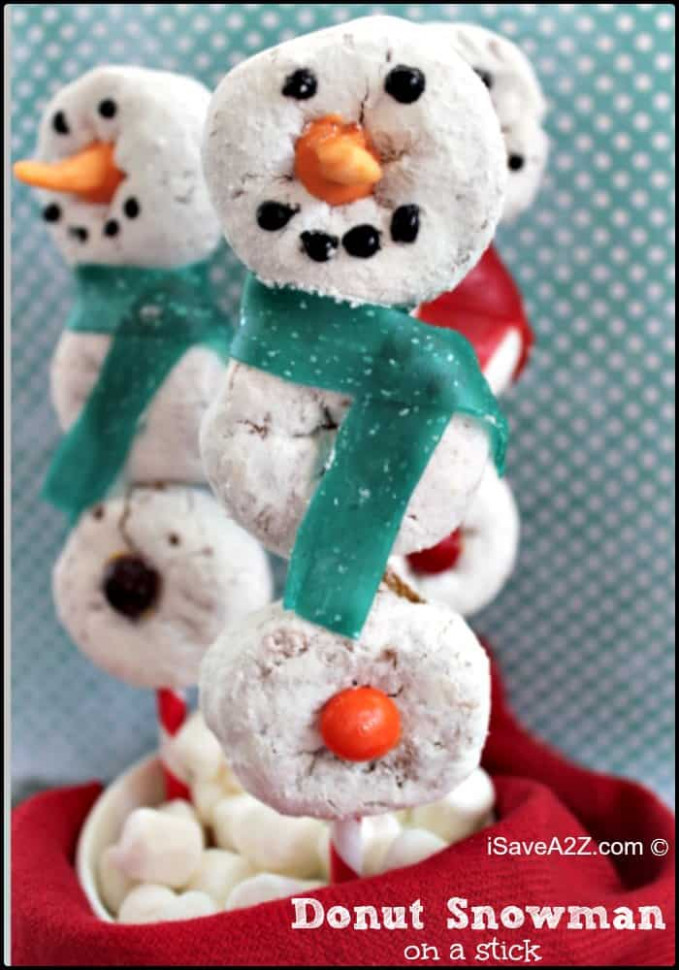 Donut Snowman on a Stick Recipe - iSaveA2Z