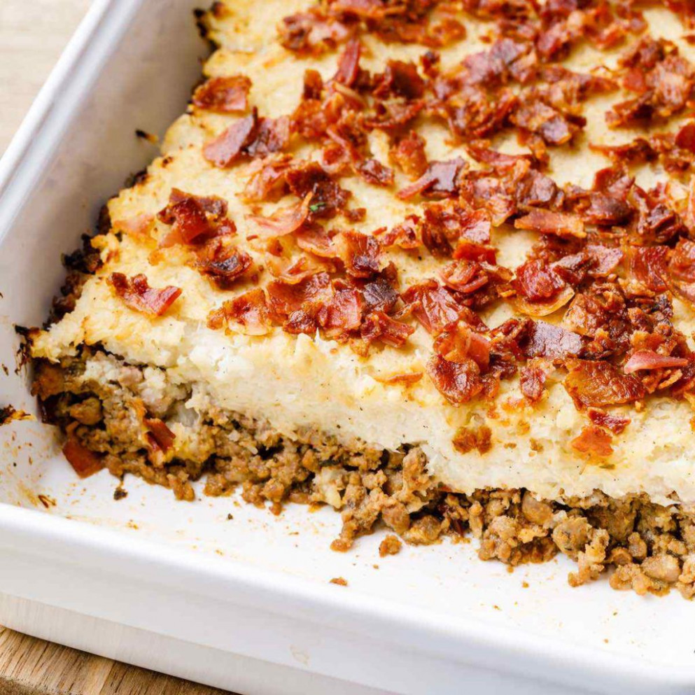 Double Bacon Ground Beef Paleo Casserole (Low Carb)