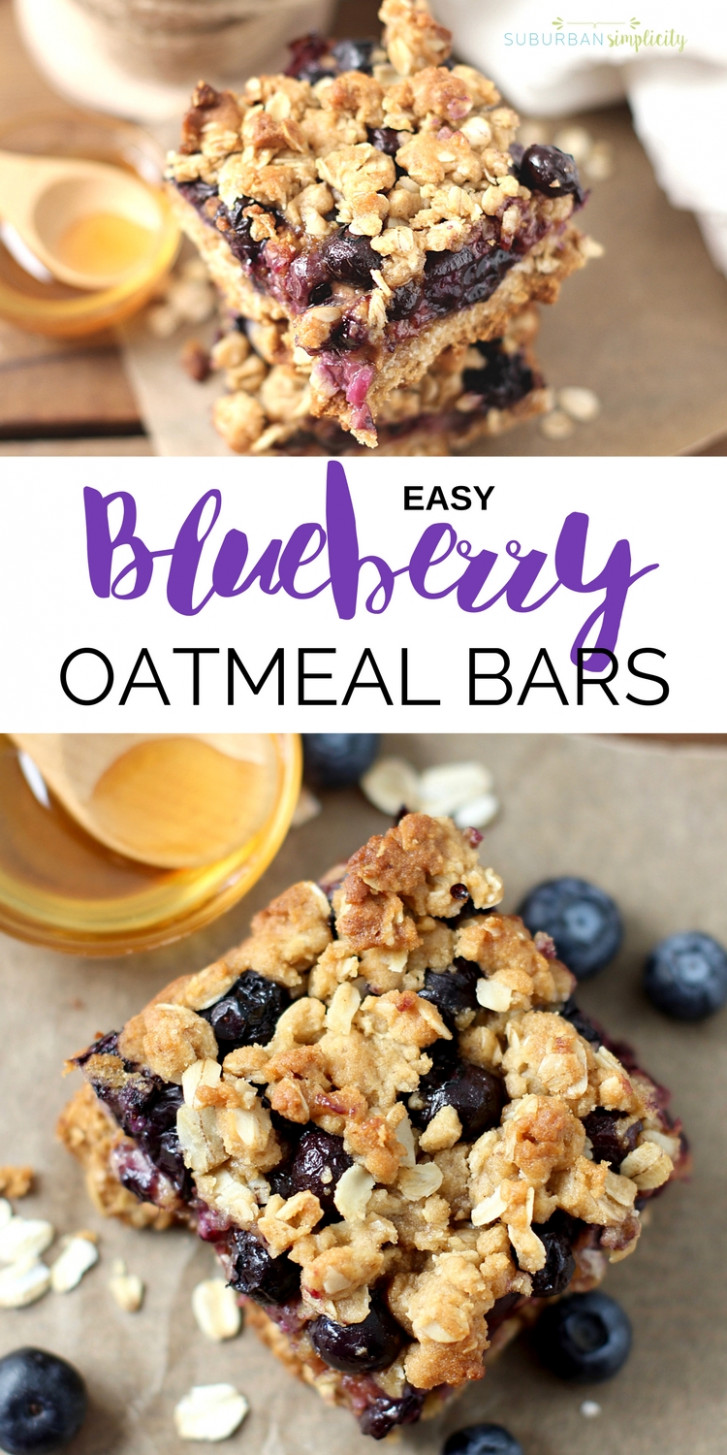 Easy Blueberry Oatmeal Bars | Blueberry Oatmeal Breakfast Bars