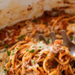 Easy Crockpot Spaghetti Casserole – The Chunky Chef