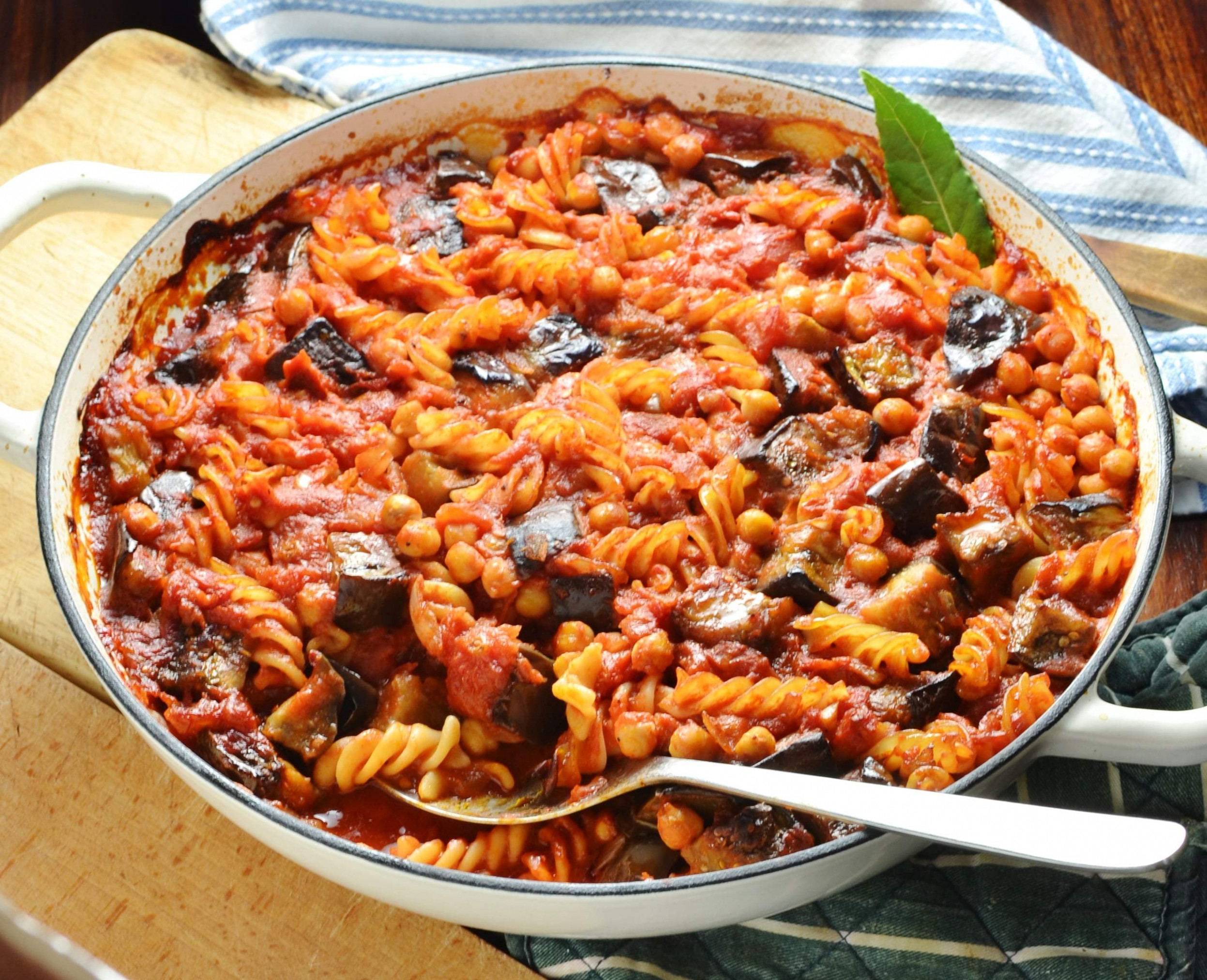 Easy Eggplant Pasta Bake with Chickpeas