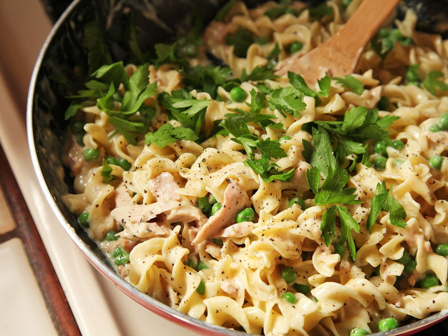 Easy One Pot, No Knife, Lighter Tuna Noodle Casserole Recipe