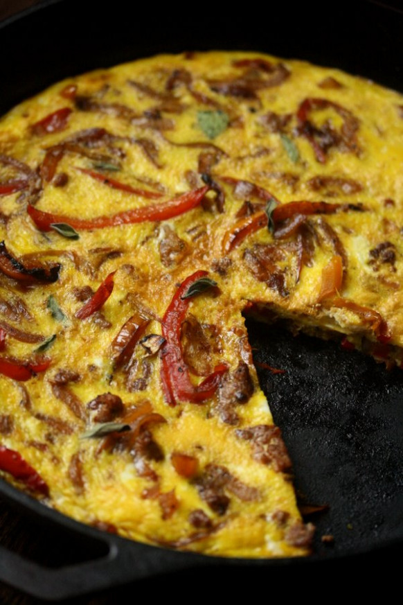 Easy Sausage Pepper and Onion Frittata Recipe | Quick ...