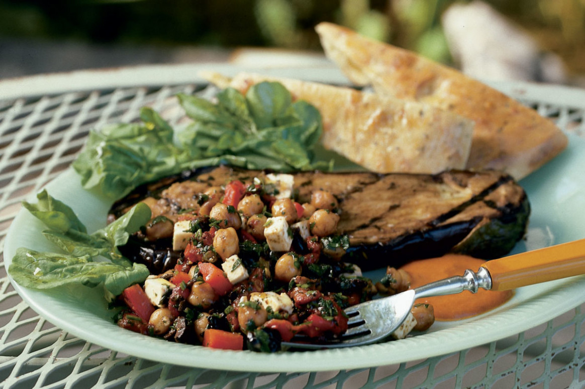 Eggplant Steak with Chickpeas, Roasted Red Peppers, Feta ...