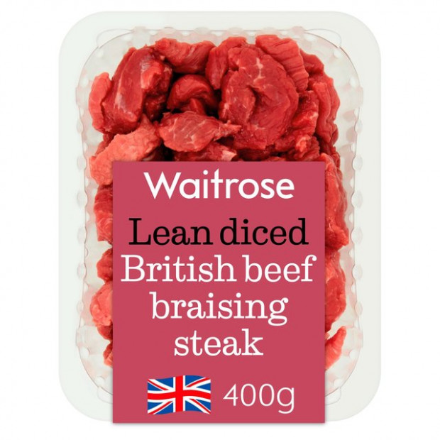 Essential Waitrose Lean Diced British Braising Steak 400g ...