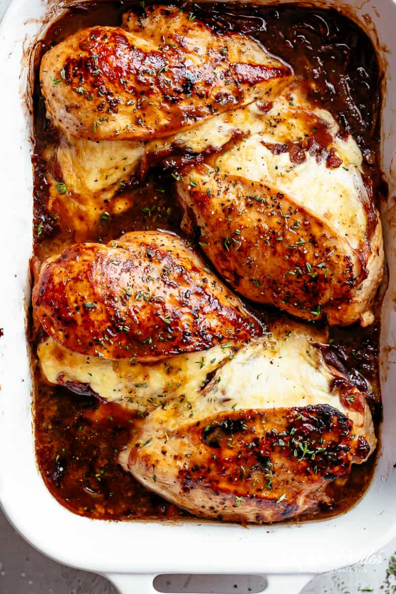 French Onion Stuffed Chicken - Cafe Delites