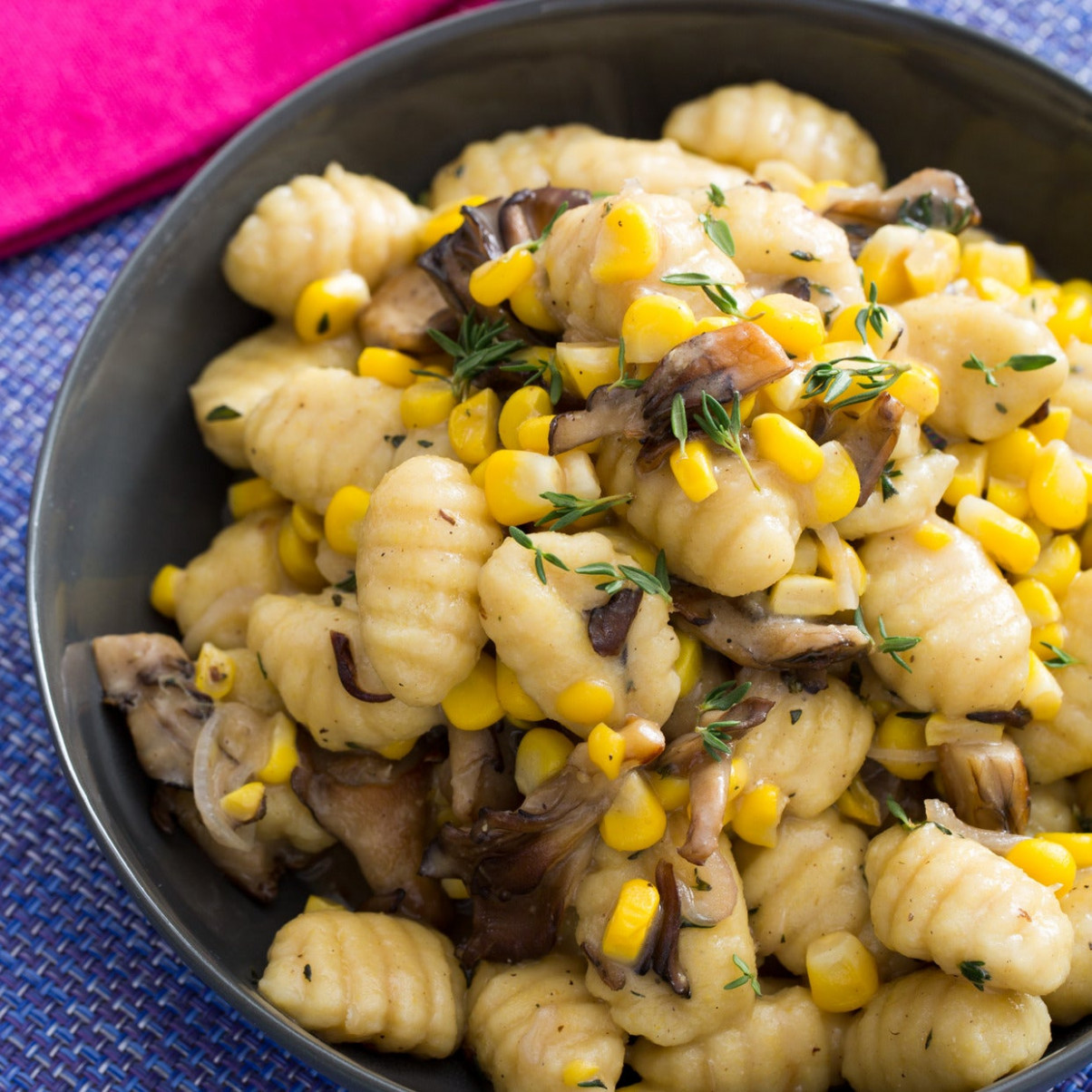 Fresh Gnocchi & Maitake Mushrooms with Corn, Thyme & Browned Butter