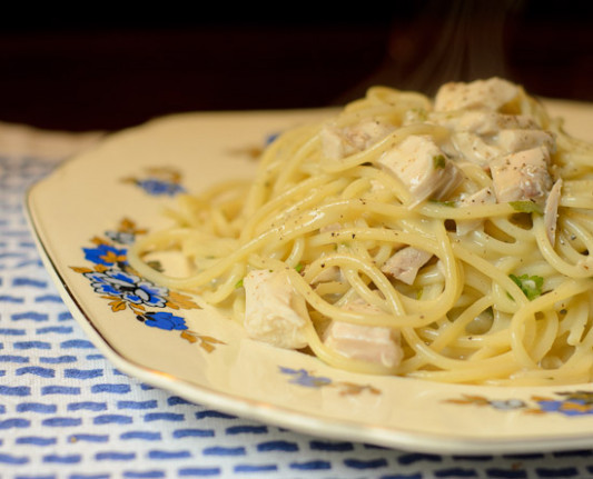 Fresh Herb Spaghetti with Chicken Veloute — Daily ...
