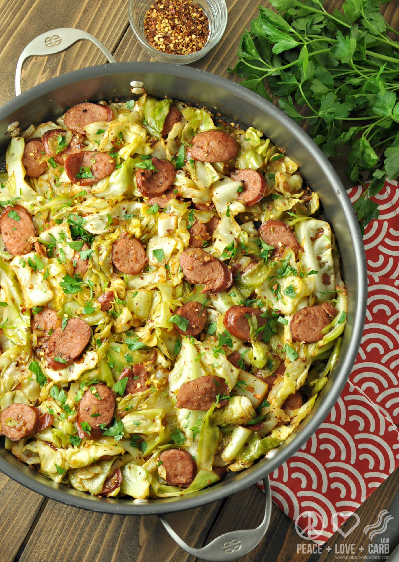 Fried Cabbage with Kielbasa - Low Carb, Paleo Gluten Free
