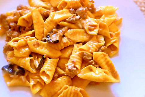 Garganelli egg pasta quills with sausage ragù and fresh wi ...