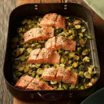 Garlic Roasted Salmon & Brussels Sprouts Recipe – EatingWell