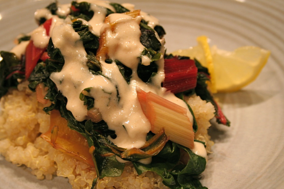 Garlicky tahini sauce with chard over quinoa