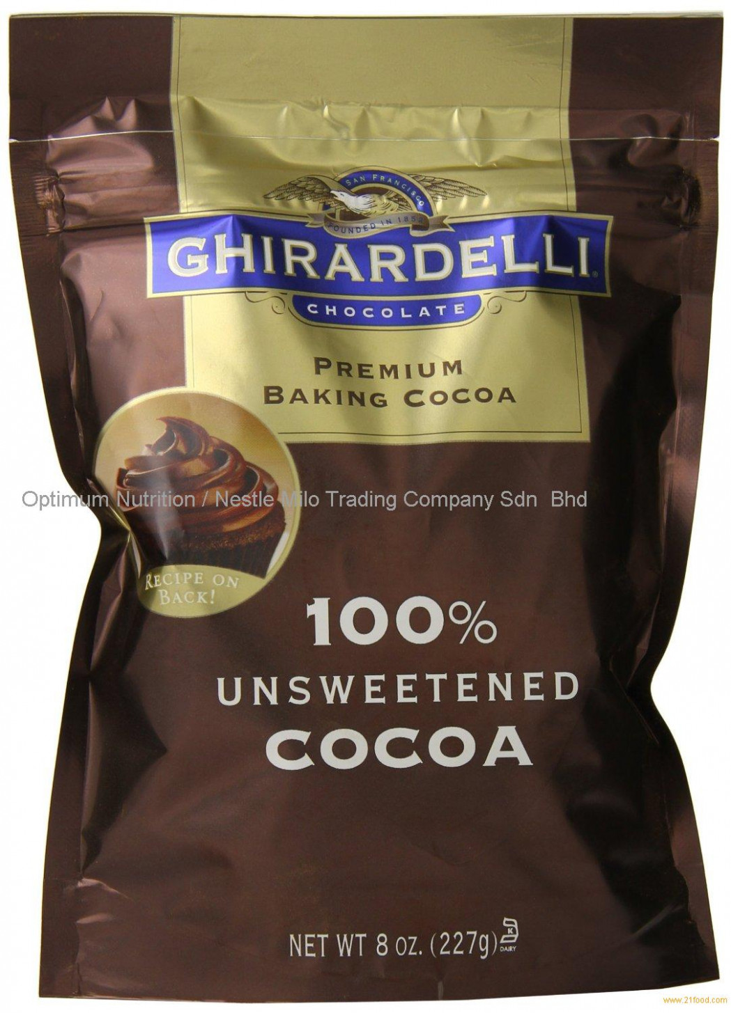 Ghirardelli Chocolate Unsweetened Cocoa Pouch, 8 Ounce ...