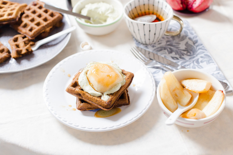 Gingerbread Waffles With Cinnamon Baked Pears