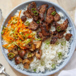 Gochujang Beef & Jasmine Rice With Sesame Soy Mushrooms & Marinated  Vegetables
