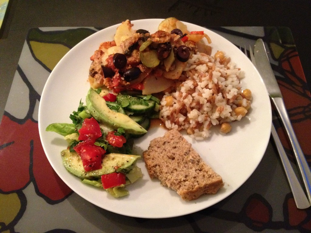 Greek Briami, Turkish rice with chickpeas, cumin spiced quick bread and avocado salad