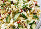 Greek Pasta Salad with Cucumbers and Artichoke Hearts