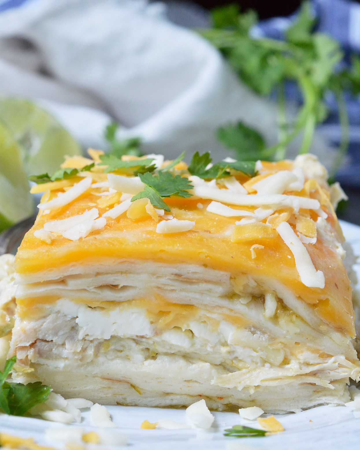 Green Chicken Enchilada Casserole - WonkyWonderful