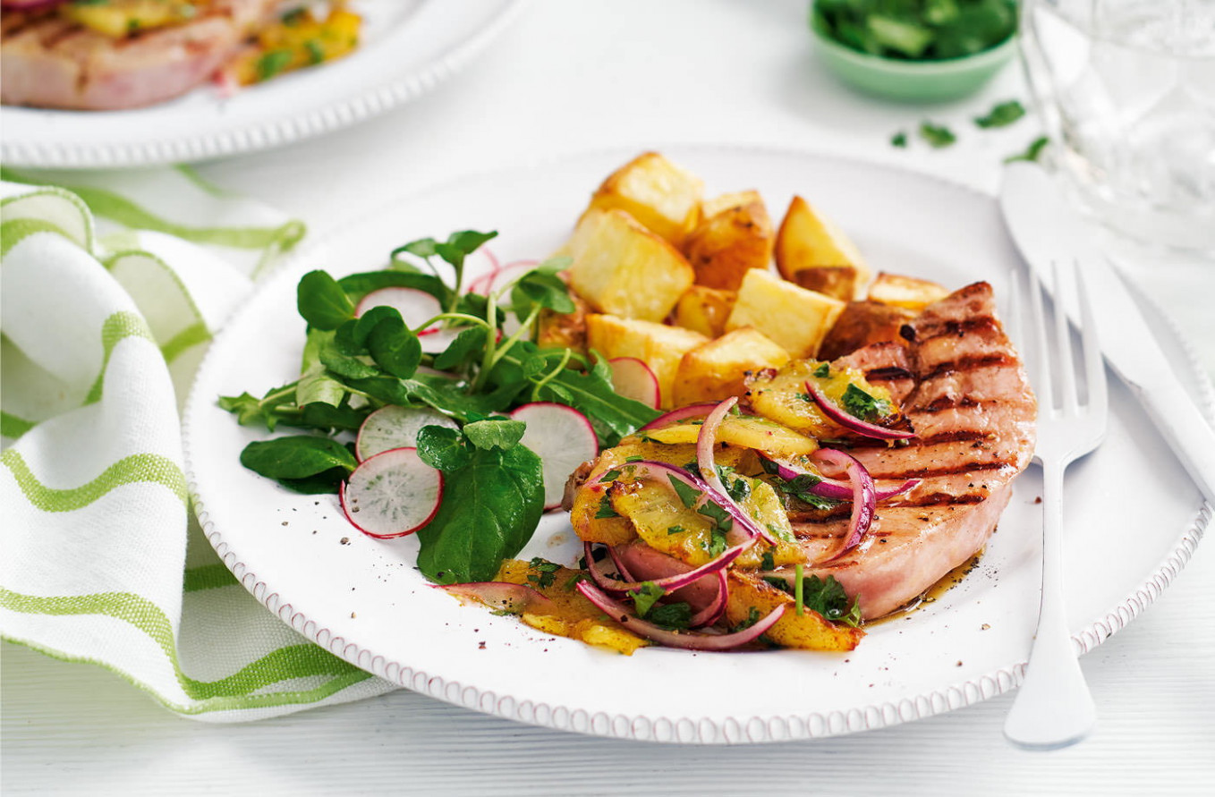 Griddled gammon steaks with pineapple salsa