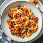 Grilled Aubergine Pasta With Chilli, Chorizo & Sun Dried Tomatoes