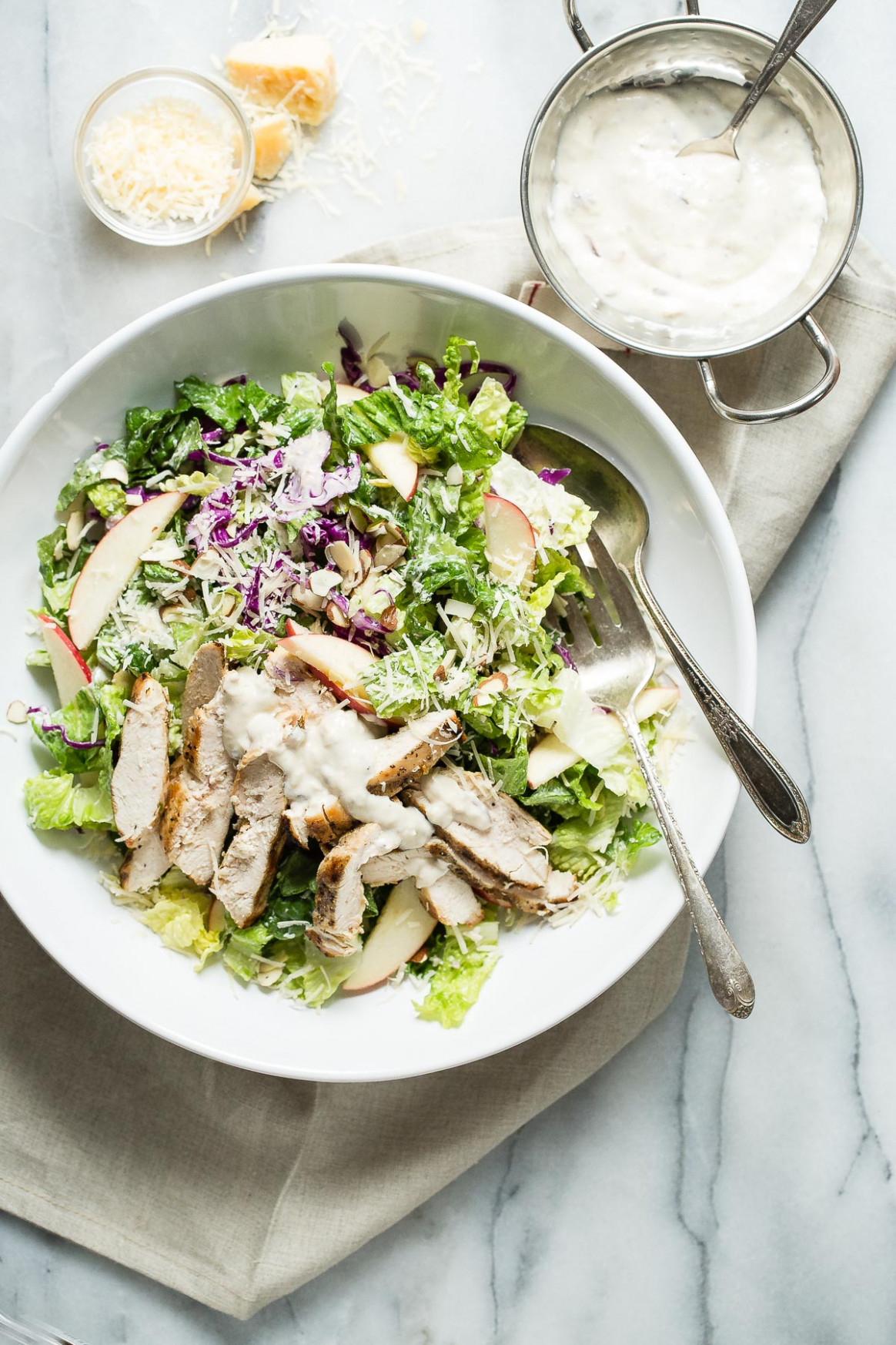 Grilled Chicken Caesar Salad With Red Cabbage And Apple …