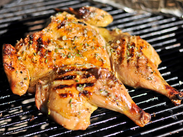 Grilled Chicken Under a Brick With Lemon, Garlic, and ...