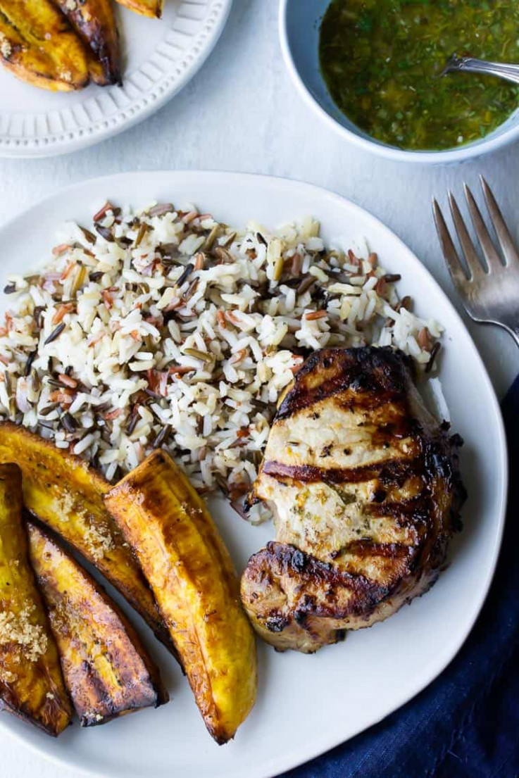 Grilled Cuban Pork Chops and Plantains (Ninja Foodi Grill ...
