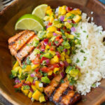 Grilled Lime Salmon With Avocado Mango Salsa And Coconut …