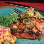 Grilled Pork Sinalo Style With Black Bean, Corn Quinoa Salad And Kitchen Sink Salsa