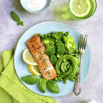 Grilled Salmon Garnished With Green Vegetables.Top View.